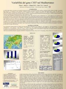 Variabilit del gene CHIT nel Mediterraneo Piras I