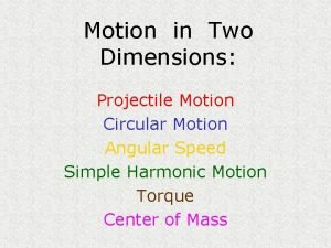 Motion in Two Dimensions Projectile Motion Circular Motion