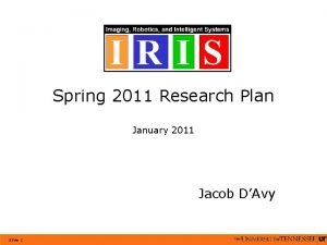 Spring 2011 Research Plan January 2011 Jacob DAvy