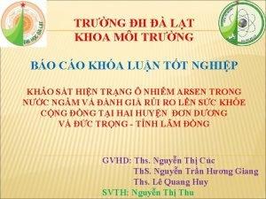 TRNG H LT KHOA MI TRNG BO CO