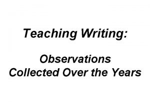 Teaching Writing Observations Collected Over the Years Theyre