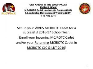 GET AHEAD IN THE WOLF PACK ENROLL NOW