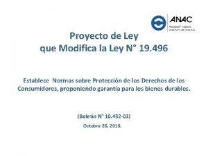 Proyecto de Ley que Modifica la Ley N