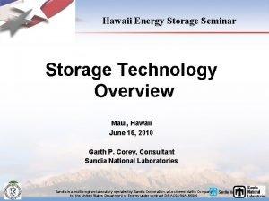 Hawaii Energy Storage Seminar Storage Technology Overview Maui