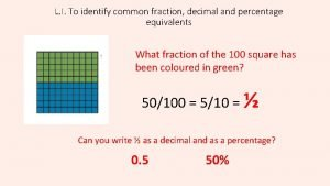 L I To identify common fraction decimal and