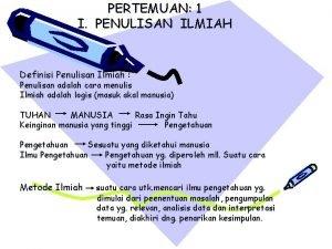 PERTEMUAN 1 I PENULISAN ILMIAH Definisi Penulisan Ilmiah