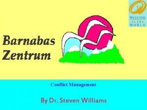 Conflict Management By Dr Steven Williams Conflict Management
