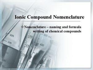 Ionic Compound Nomenclature v Nomenclature naming and formula