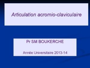 Articulation acromioclaviculaire Pr SM BOUKERCHE Anne Universitaire 2013