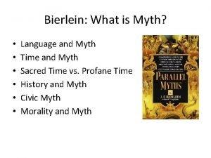 Bierlein What is Myth Language and Myth Time