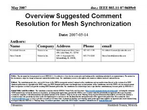 May 2007 doc IEEE 802 11 070689 r