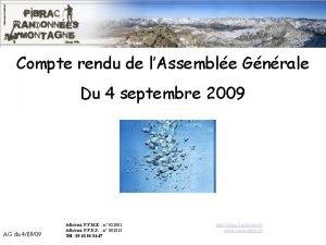 Compte rendu de lAssemble Gnrale AG du 40909