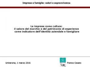 Imprese e famiglie valori e sopravvivenza Le imprese