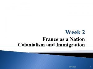 Week 2 France as a Nation Colonialism and