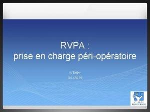 RVPA prise en charge priopratoire N Tafer DIU
