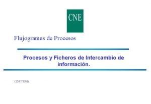 Flujogramas de Procesos y Ficheros de Intercambio de
