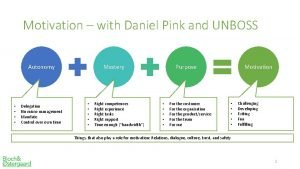 Motivation with Daniel Pink and UNBOSS Autonomy Delegation