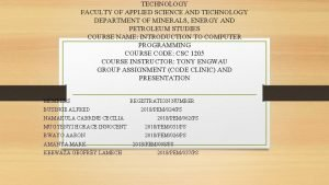 TECHNOLOGY FACULTY OF APPLIED SCIENCE AND TECHNOLOGY DEPARTMENT