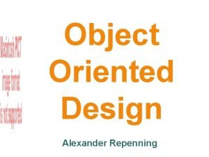 Object Oriented Design Alexander Repenning Repennings Background Programming
