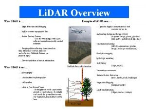 Li DAR Overview What Li DAR is Light