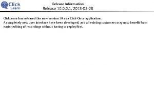 Release Information Release 10 0 0 1 2013