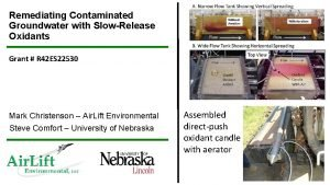 Remediating Contaminated Groundwater with SlowRelease Oxidants Grant R
