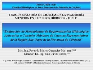 Primer Taller sobre Estudios Hidrolgicos en reas Serranas