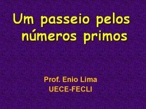 Um passeio pelos nmeros primos Prof Enio Lima