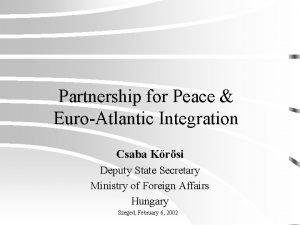 Partnership for Peace EuroAtlantic Integration Csaba Krsi Deputy