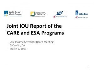 Joint IOU Report of the CARE and ESA
