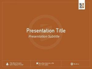 Presentation Title Presentation Subtitle Title Name Surname edit