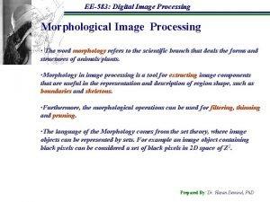 EE583 Digital Image Processing Morphological Image Processing The