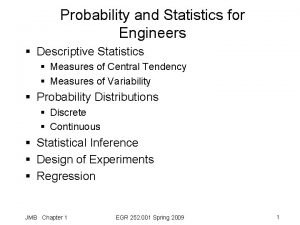 Probability and Statistics for Engineers Descriptive Statistics Measures