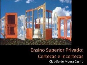 Ensino Superior Privado Certezas e Incertezas Claudio de