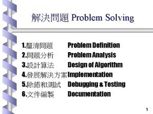 Problem Solving 1 Problem Definition 2 Problem Analysis