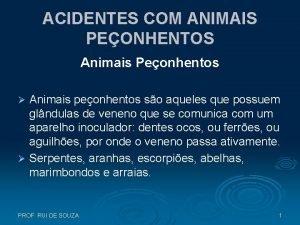 ACIDENTES COM ANIMAIS PEONHENTOS Animais Peonhentos Animais peonhentos
