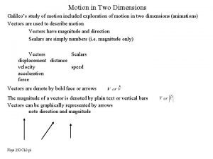 Motion in Two Dimensions Galileos study of motion
