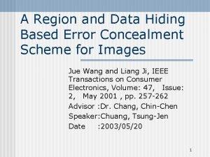 A Region and Data Hiding Based Error Concealment
