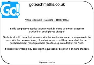 Venn Diagrams Notation Relay Race In this competitive