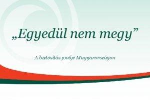 Egyedl nem megy A biztosts jvje Magyarorszgon Eurpa