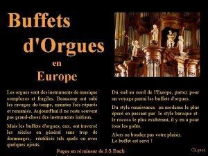 Buffets dOrgues en Europe Les orgues sont des