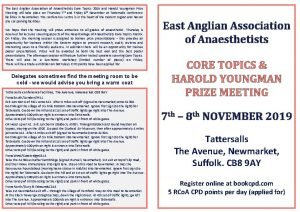 The East Anglian Association of Anaesthetists Core Topics