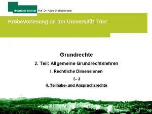 Prof Dr Astrid Wallrabenstein Probevorlesung an der Universitt