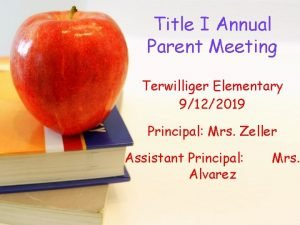Title I Annual Parent Meeting Terwilliger Elementary 9122019