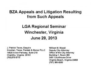 BZA Appeals and Litigation Resulting from Such Appeals