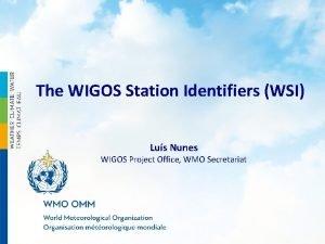 The WIGOS Station Identifiers WSI Lus Nunes WIGOS