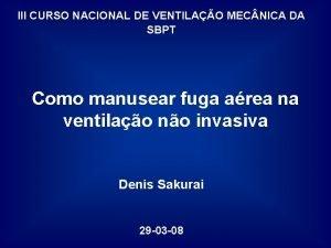 III CURSO NACIONAL DE VENTILAO MEC NICA DA