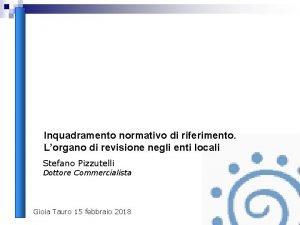 Inquadramento normativo di riferimento Lorgano di revisione negli