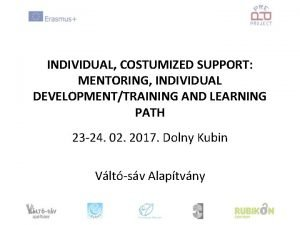 INDIVIDUAL COSTUMIZED SUPPORT MENTORING INDIVIDUAL DEVELOPMENTTRAINING AND LEARNING