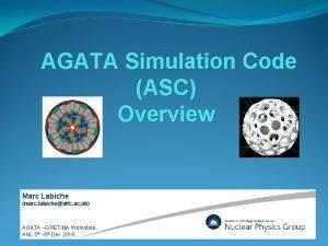 AGATA Simulation Code ASC Overview Marc Labiche marc